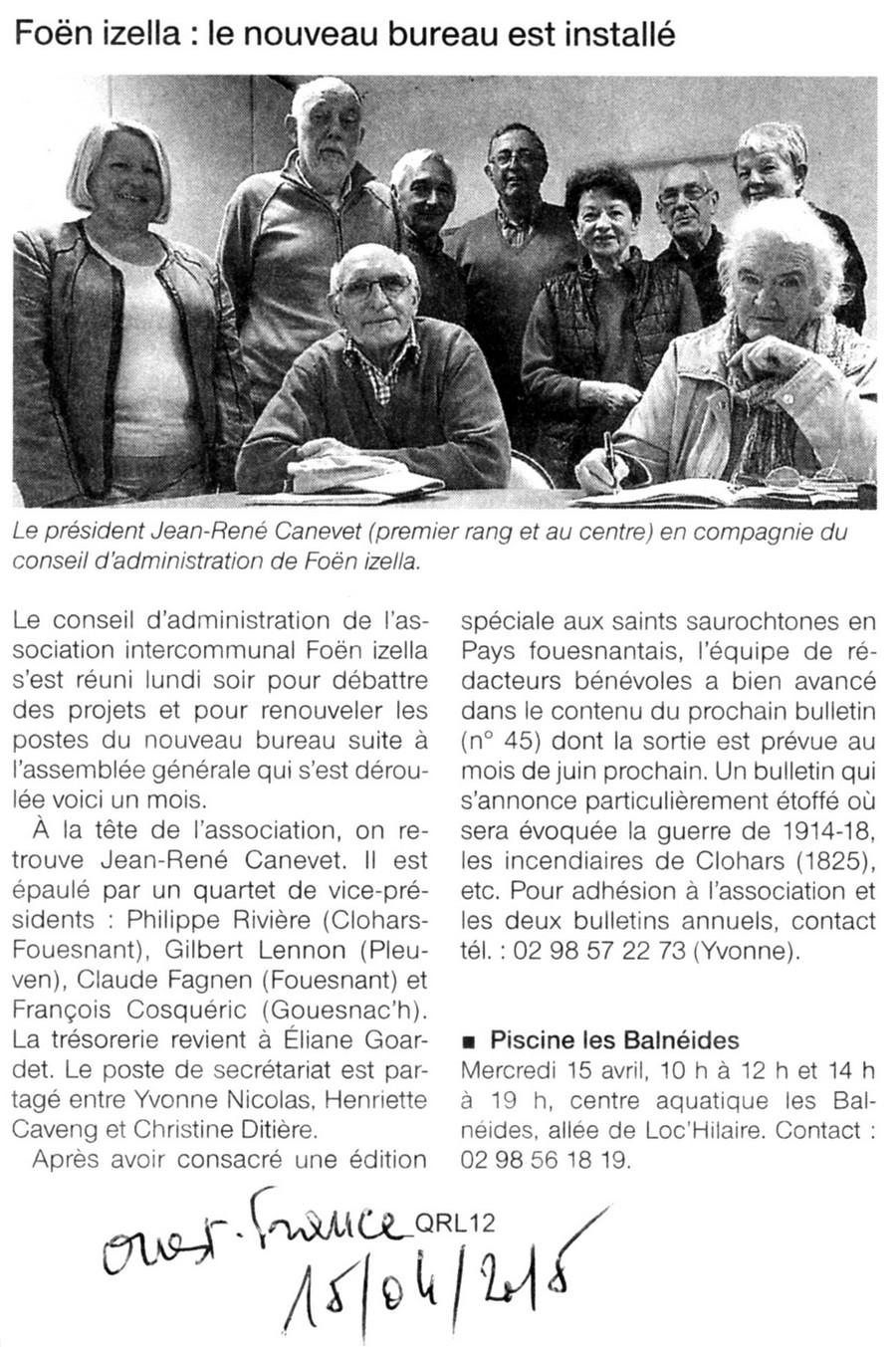 Article du Ouest France du 15/04/15 sur le nouveau Bureau de Foen Izella