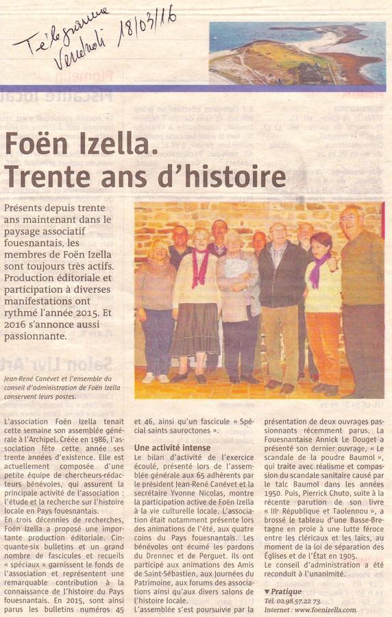 Article du télégramme sur l'AG de Foën Izella