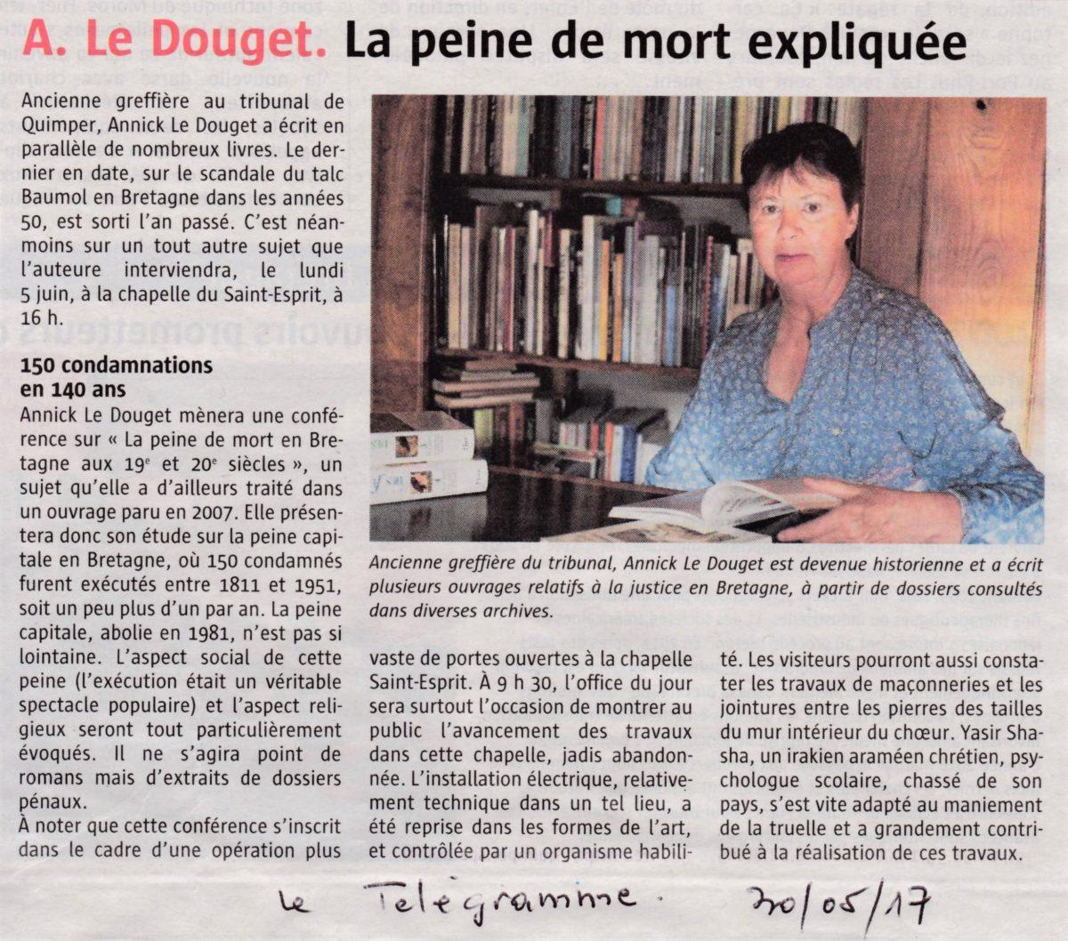 Conférence «La Peine de Mort en Bretagne au 19ième et 20ième siècles»